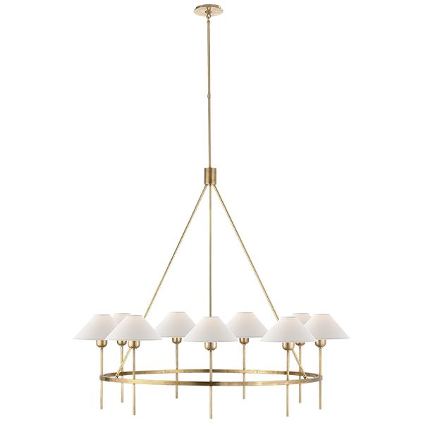 Visual Comfort J Randall Powers Hackney 9 Light 42 Inch Hand Rubbed Antique Brass Chandelier Ceiling