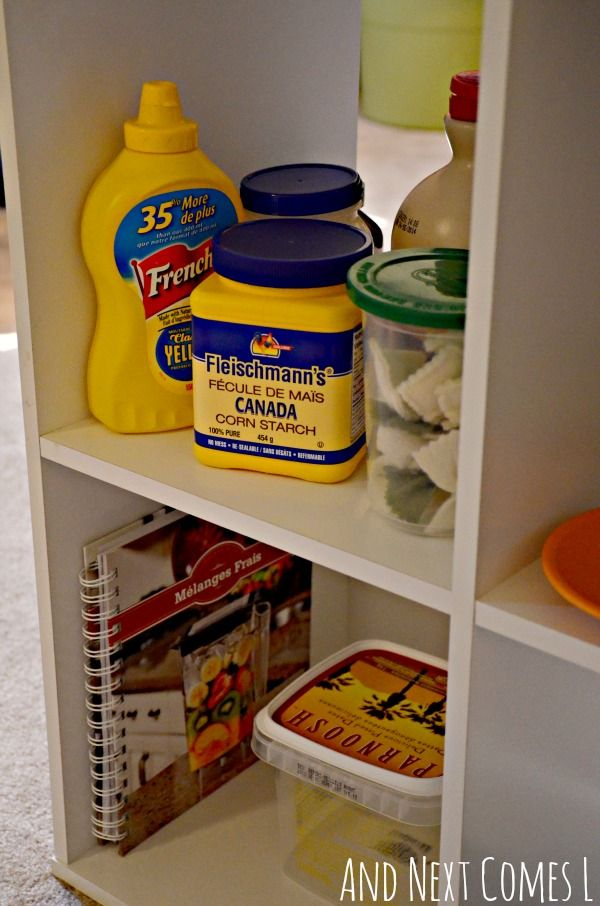 Collect real containers for the home corner and buy oven mitts and cooking utensils from a pound store