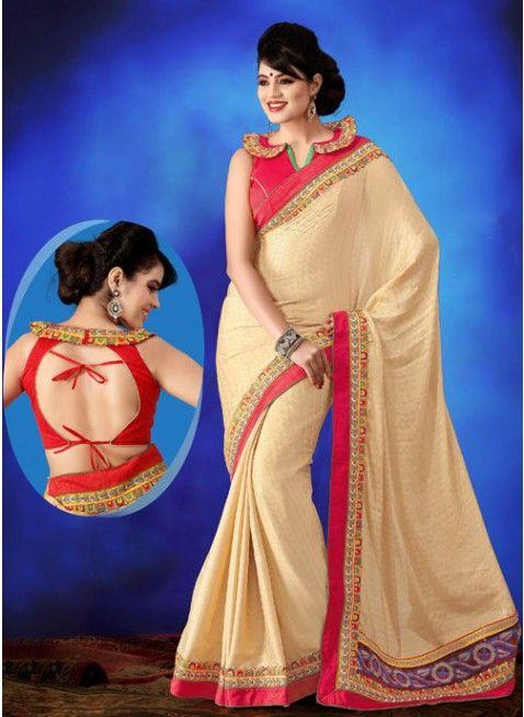 Appealing Cream embroidered #saree #designersares #clothing #fashion #womenwear #womenapparel #ethnicwear
