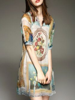 Beige #Silk Floral Half Sleeve Mini #Dress #Stylewe |$89