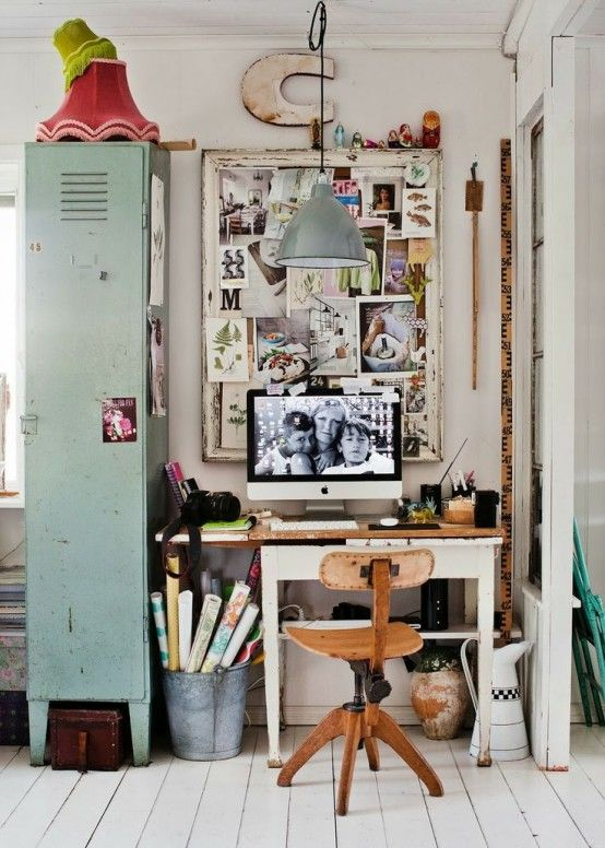26 Amazing Industrial Home Office Designs: 26 Amazing Industrial Home Office Designs With White Wooden Desk And Chair And Big Green Storage