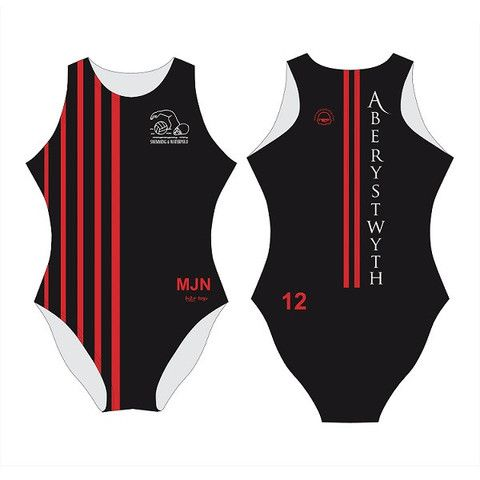 H2O TOGS Customised - Aberystwyth Uni Womens Water Polo Suits + INITIALS + NUMBER