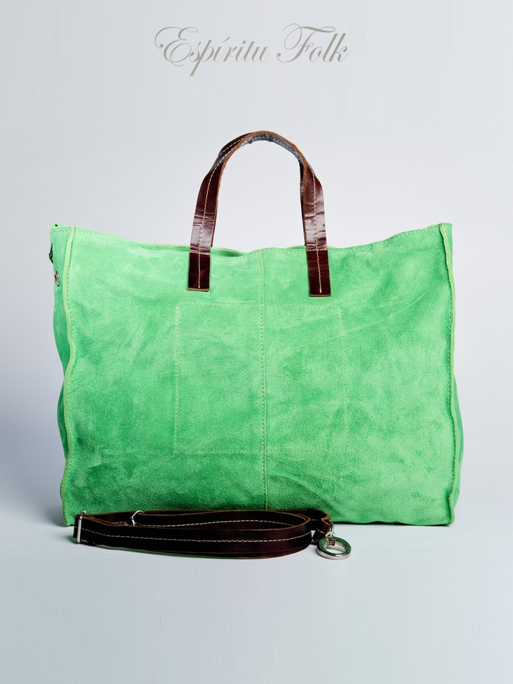 TOTE BAG $130.- leather suede in green, collection available at espiritufolkstore.com