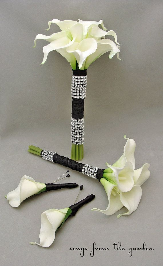 Calla Lily Bridesmaids Bouquets White Black
