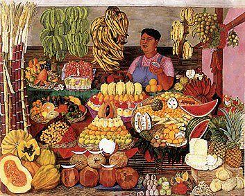 Uso esta pintura como un ejemplo perfecto de la esencia de los mercados mexicanos, donde la fruta se vuelve protagonista en colores, formas, texturas, sabores y olores. Y en la cual les pido a los alumnos que descubran las formas geométricas y las delimiten con líneas.