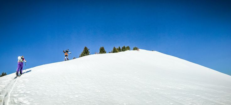 Heading up towards the summit of Pointe d'Uble in Haute Savoie, France. Another 15 minutes of splitboarding to go!