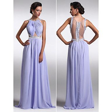 TS+Couture+Formal+Evening+Dress+-+Lavender+Plus+Sizes+/+Petite+Sheath/Column+Scoop+Floor-length+Chiffon+–+USD+$+119.99