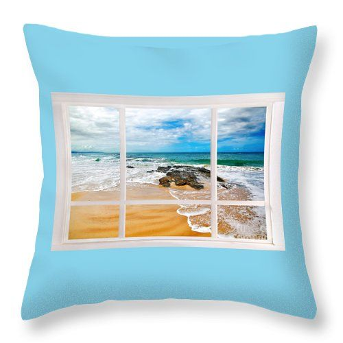 A pretty aqua throw pillow looking through a window with a pretty beach scene. Pillow available at: https://kaye-menner.pixels.com/products/view-from-my-beach-house-window-kaye-menner-throw-pillow.html