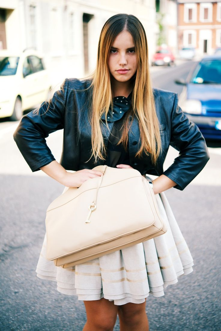 Federica Romani of vanillaandsoap.com carrying #Ortensia while out and about at #MFW #SS2014