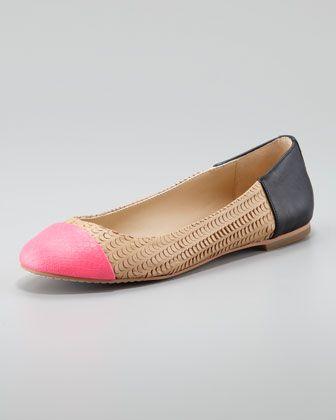 Baca Fish-Scale Ballerina Flats, Pink/Nude, Black (Stylist Pick!) at CUSP.