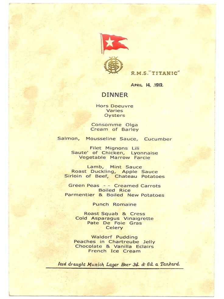 Titanic 39 S Last Dinner Menu Dated April 14 1912