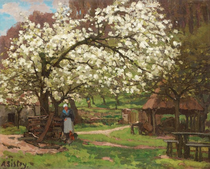 Alfred Sisley   Spring, Peasant under Trees in Blossom, 1865-66   Oil on canvas, 46.5 x 56 cm  Galerie Bailly, Geneva  Image courtesy of Galerie Bailly, Geneva