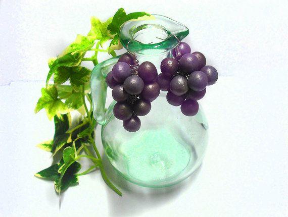Orecchini a grappolo d'uva in porcellana pendenti viola modellati a mano, idea regalo festa della mamma donna ragazza fidanzata estate