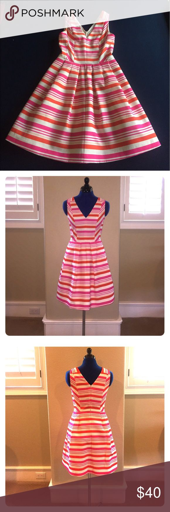 McGinn striped party dress. Size 2 Pink, orange, cream striped party dress.  Perfect for wedding or special occasion.  Excellent condition. Worn only a few times. Size 2. McGinn Dresses Midi