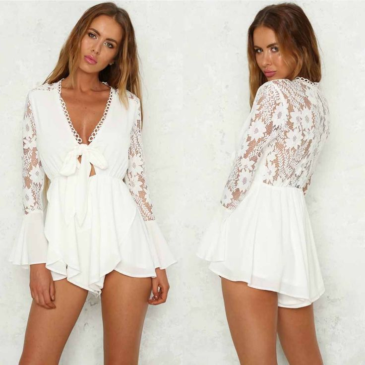Womens V Neck Long Sleeve Lace Floral Party Playsuit Bodysuit Jumpsuits Rompers