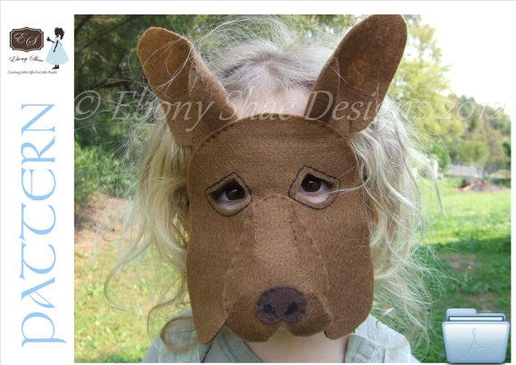 Australian Kangaroo mask PATTERN for kids. One size fits most. INSTANT DOWNLOAD. on Etsy, £2.70