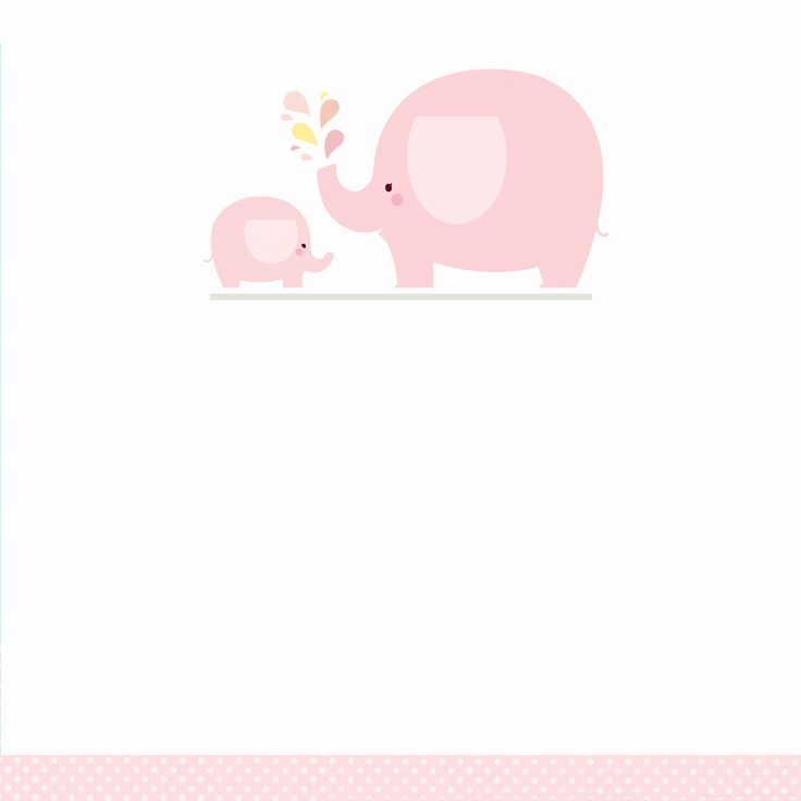 Pink Baby Elephant - Free Printable Baby Shower Invitation Template
