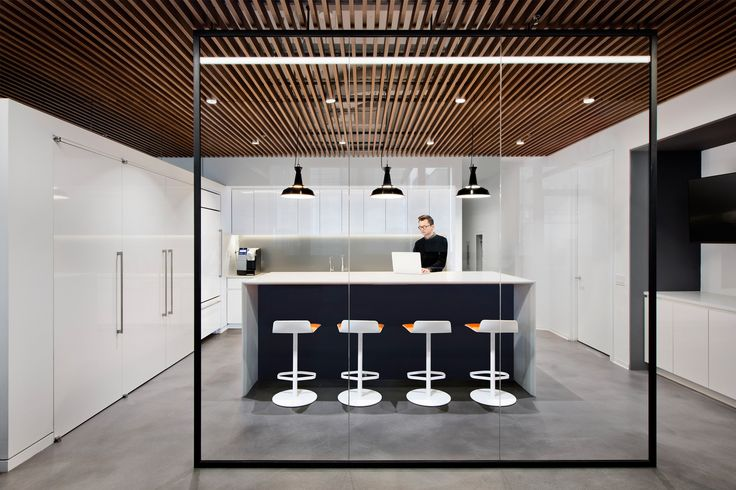 A lovely pantry area with glass walls / partition at HAP Capital in NYC