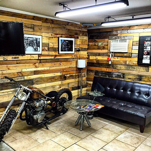 Great example of pallet wood on walls-I like the idea of doing corner like this on each side