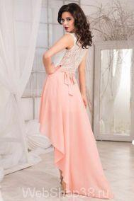 Асимметричное вечернее платье верх белый гипюр юбка персик
