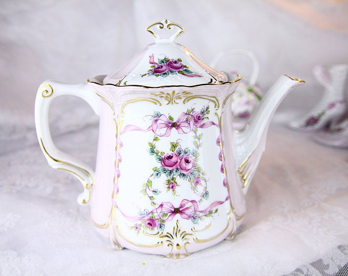 VSC Hand Painted Teapot with Rose and Ribbon Garden - Pink