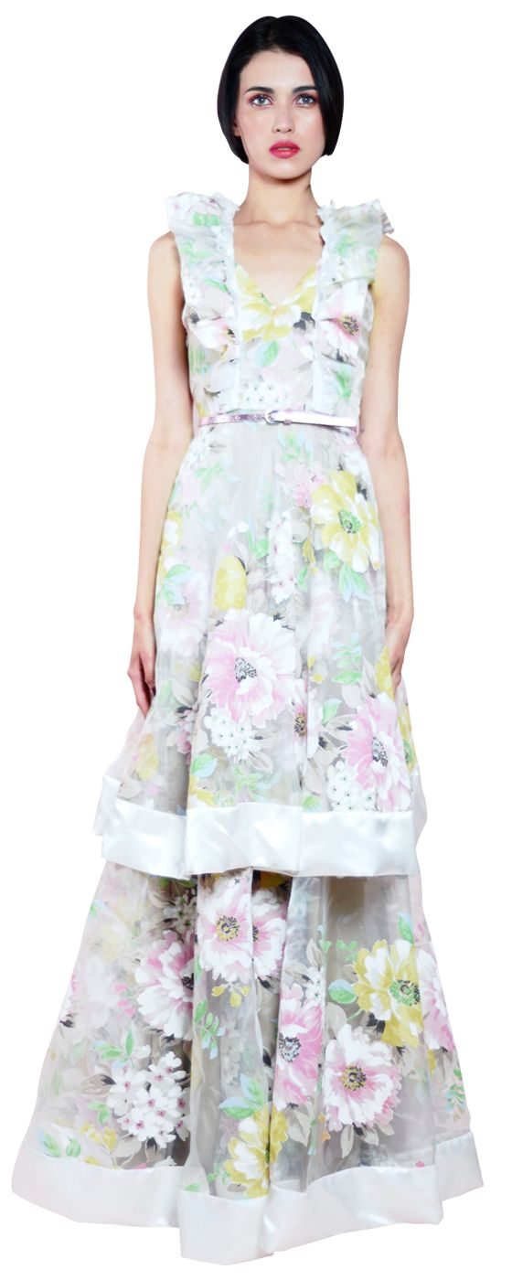 ROYAL FLOWERED DRESS Vestido largo en gasa floreada con dos capas en terminación de bies satinado.