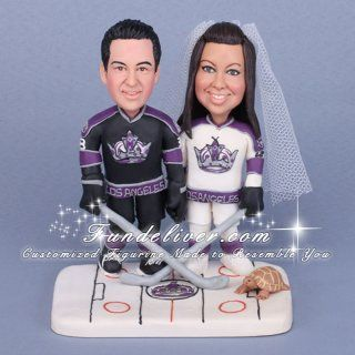Los Angeles L.A. Kings Hockey theme Wedding Cake Toppers