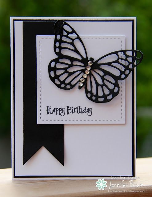 handmade birthday card from Ladybug Designs ... black and white ... fishtail banner ... die cut butterfly ... fab graphic look ... Stampin' Up!