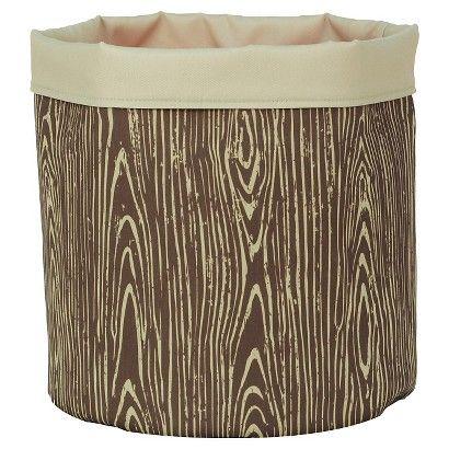 Reversible Canvas Floor Bin Round Woodgrain - Pillowfort™