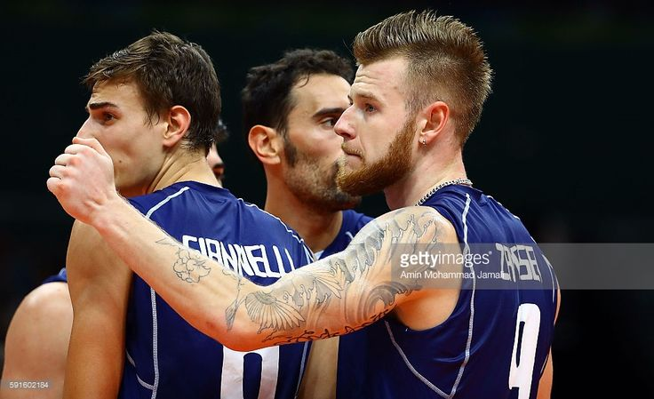 Ivan Zaytsev #9 of Italy looks on against Iran during the Men's Quarterfinal Volleyball match on Day 12 of the Rio 2016 Olympic Games at Maracanazinho on August 17, 2016 in Rio de Janeiro, Brazil.