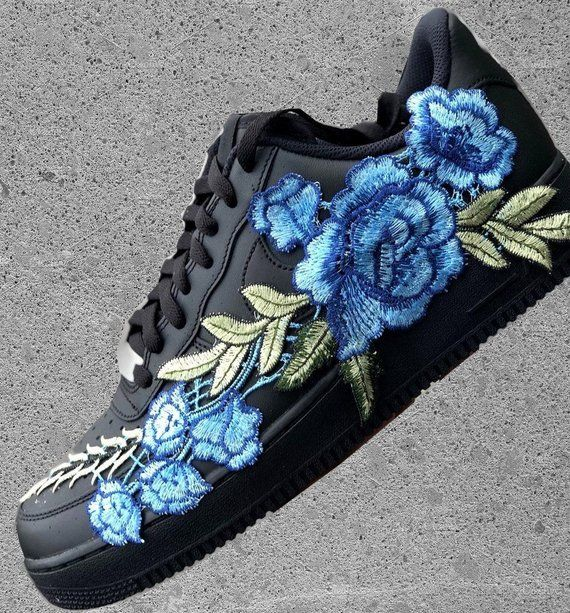 Nike Air Force 1 Low Black with Flower Bomb Blue Rose Floral