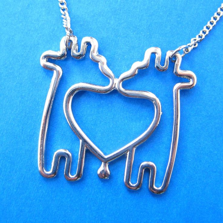 Simple Giraffe Heart Love Animal Charm Outline Necklace in Silver - possible the cutest necklace I've ever seen!