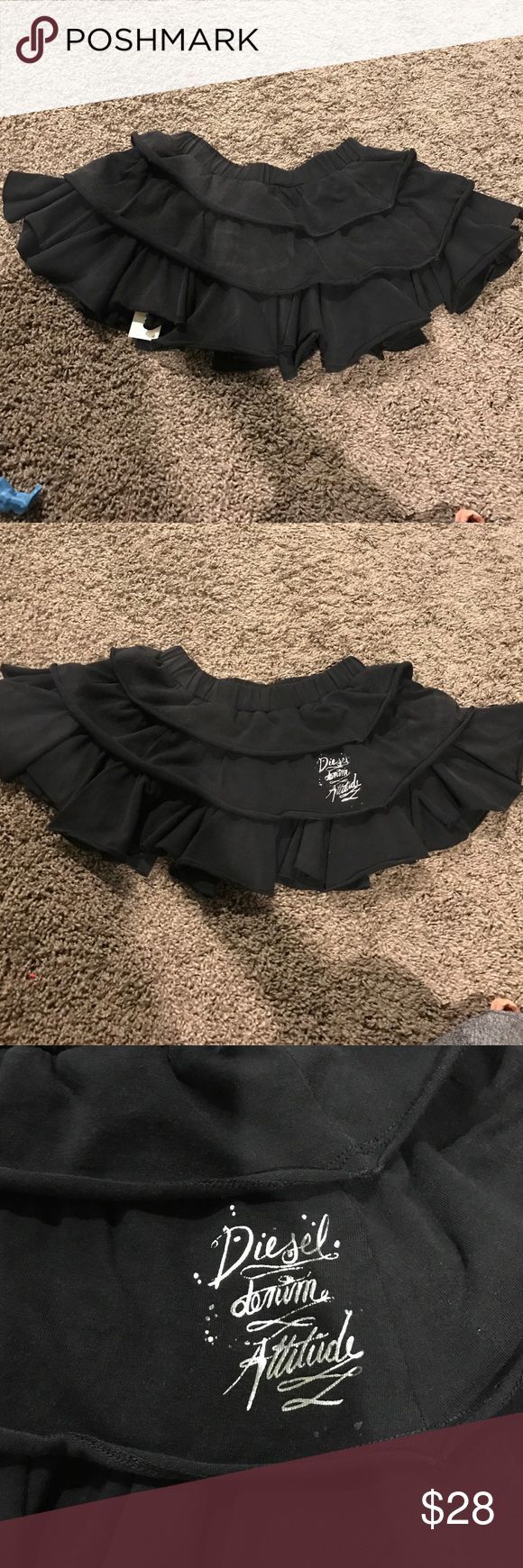 Girls diesel skirt Cute black ruffle Diesel skirt . Size xxs... would fit a 4-7 year old girl. Super stretchy. Diesel Bottoms Skirts