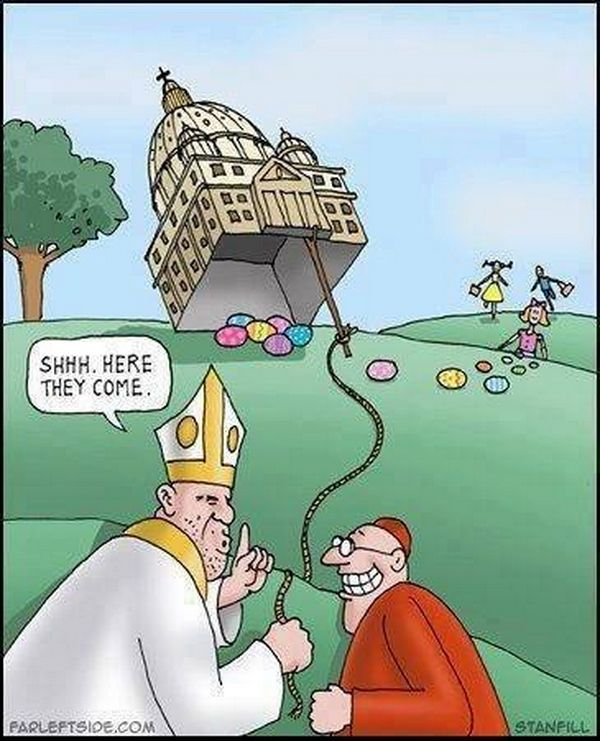 Catholic Priests with the Easter Bunny. Cartoon. | Atheist ...