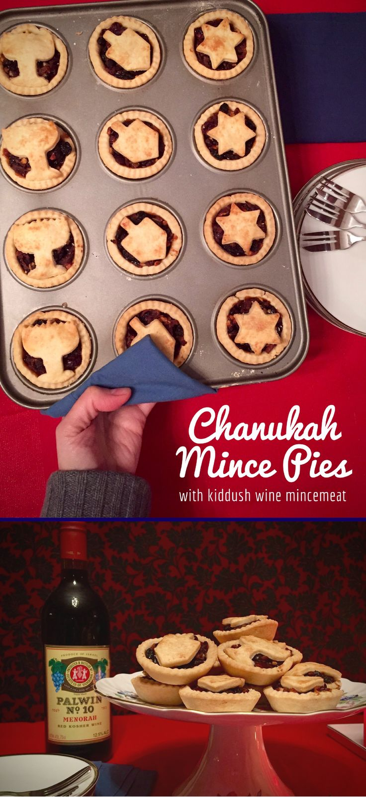 The quick & easy filling for these festive mince pies is fruity, sweet, spicy and delicious, enhanced with kiddush wine and rum. Make a batch today! #chanukah #hannukah #festive #jewish
