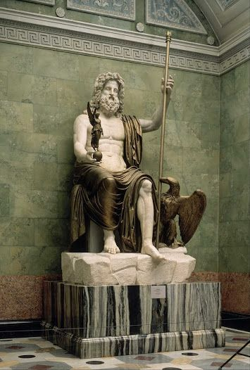 Statue of Zeus, The State Hermitage Museum, St. Petersburg. This is a Roman copy of the statue created by Phidias for the Temple of Zeus at Olympia. It was discovered in the excavations at Domitian's villa near Lake Albano. It is made of marble, gilded wood, and stucco. It is 3.5m in height, and weighs around 16 tons.