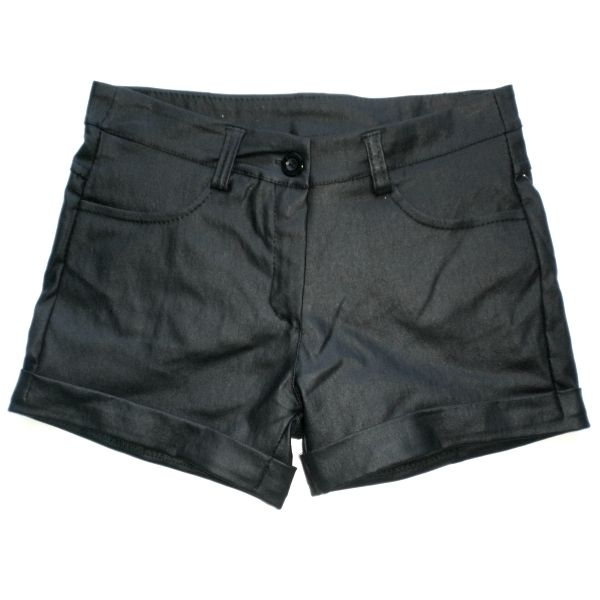 Shorts neri in similpelle