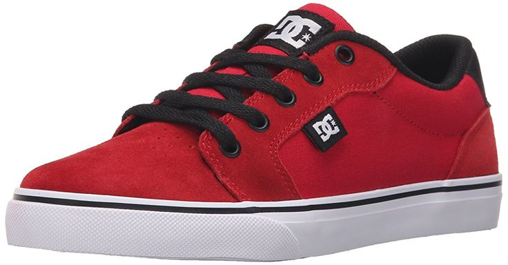 DC Anvil Lowtop Skate Shoe (Little Kid/Big Kid), Athletic Red/Black, 1.5 M US Little Kid