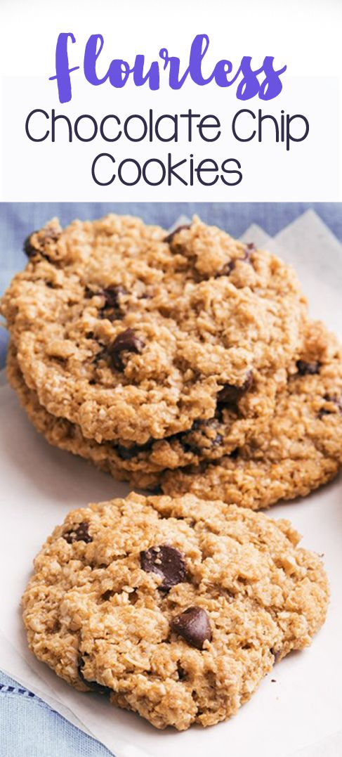 Flourless Chocolate Chip Cookies - soft & CHEWY homemade chocolate chip cookies, SO much better than Tollhouse, + no flour! @choccoveredkt... http://chocolatecoveredkatie.com/2011/08/30/flourless-chocolate-chip-cookies/