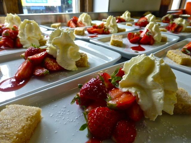 Irish strawberries, vanilla foam & homemade shortbread, for the lovely Canadian dentists