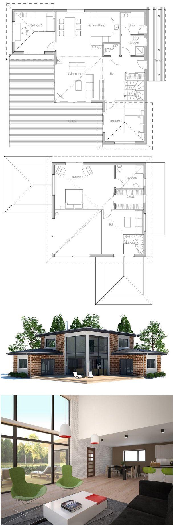 On garde juste le rez de chaussée en ajoutant une deuxième chambre enfant à la place d'une partie de la terrasse, et l'escalier peut mener à un sous sol semi enterré avec le garage et un atelier bricolage