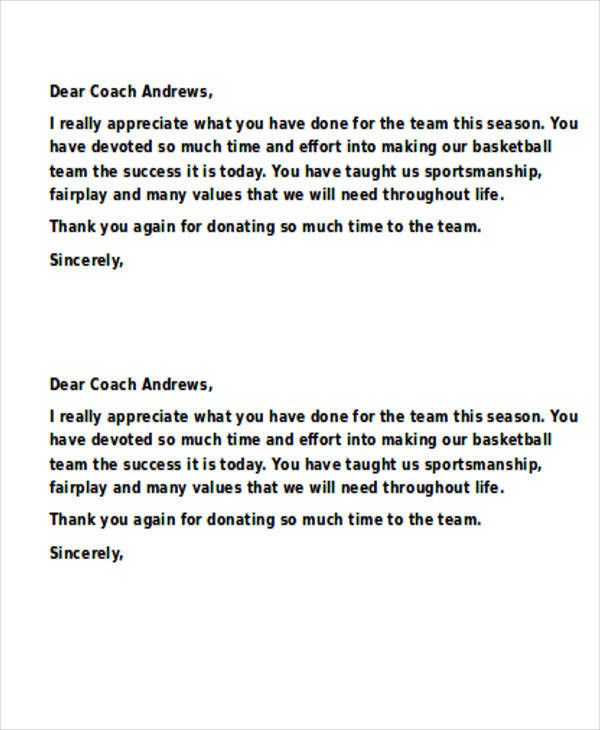 Thank You Letter To Football Coach Awesome 11 Sample Coach Thank