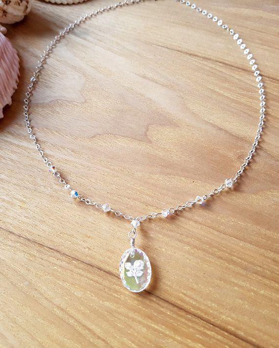 Romantic Vintage Opal Rose Crystal Necklace OOAK Art Deco
