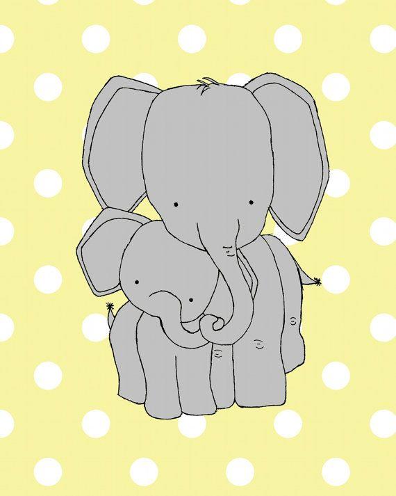 Elephant Nursery Art -- Polka Dot Elephant Art Print -- Neutral Nursery Decor -- Mama and Baby Elephant --Children Art, Kids Wall Art