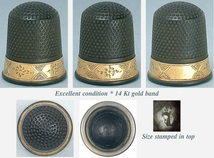 RARE Antique 14 Kt Gold & Vulcanite Thimble (c.1890)