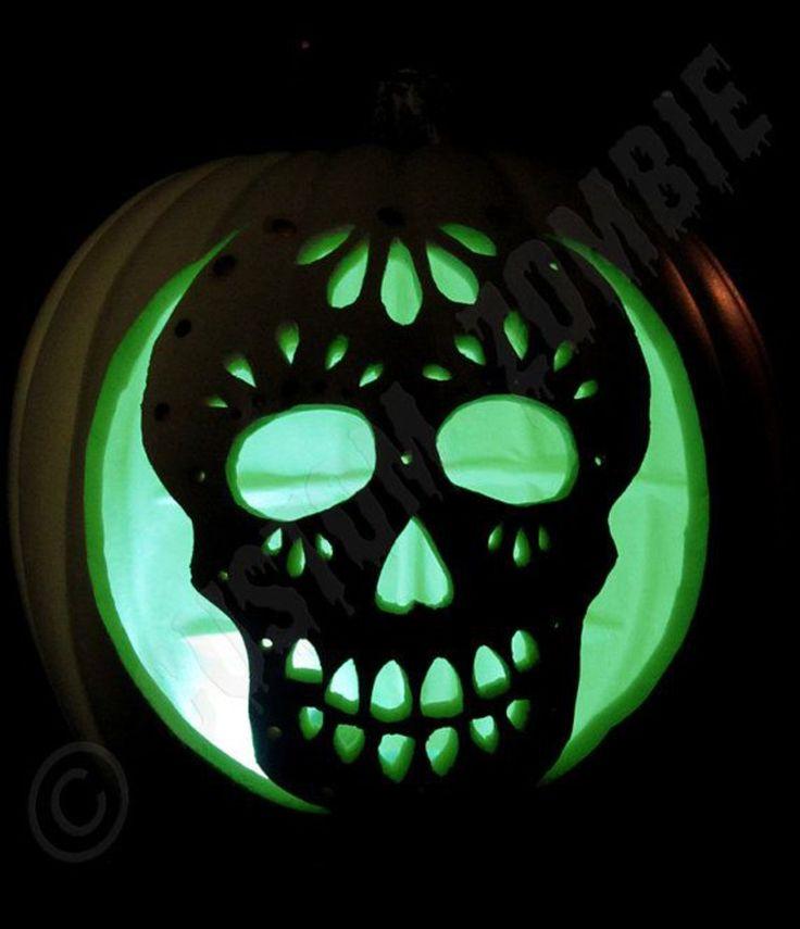Pumpkin stencil sugar skull carving crafts by customzombie for Skeleton pumpkin pattern