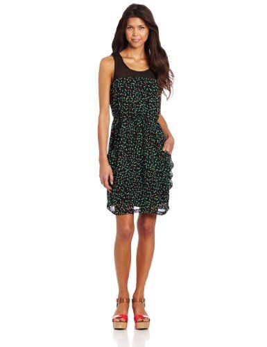 Kensie Women's Sketched Spots Dress, Black Combo, X-Large « Dress Adds Everyday