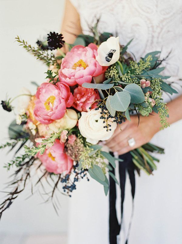 peony wedding bouquets - photo by Abigail Bobo Photography http://ruffledblog.com/moody-black-and-white-wedding-ideas