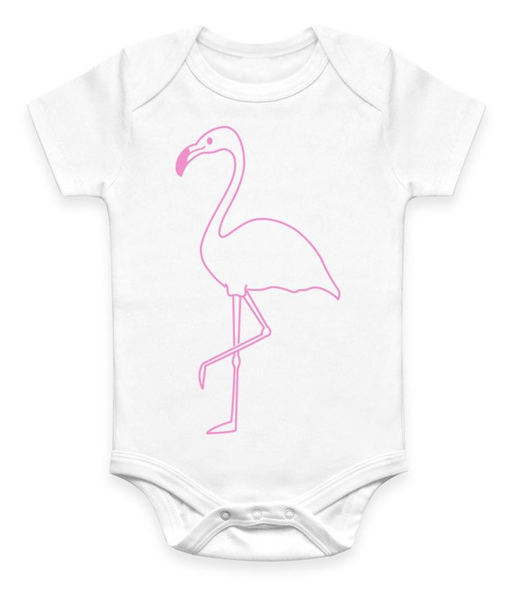 White baby onesie, featuring flamingo image in pink.