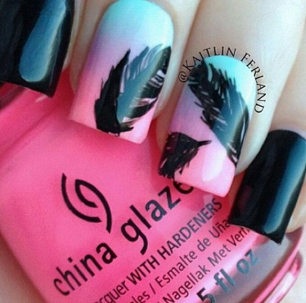 Feather Nail Design. Very pretty! I have to say, I am really into this feather design.